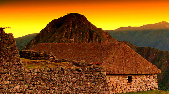 Sunset Over Machu Picchu Inca Citadel