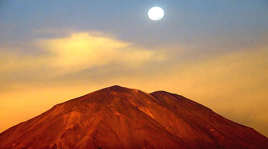 Sunset Over The Misti Volcano In Arequipa Peru
