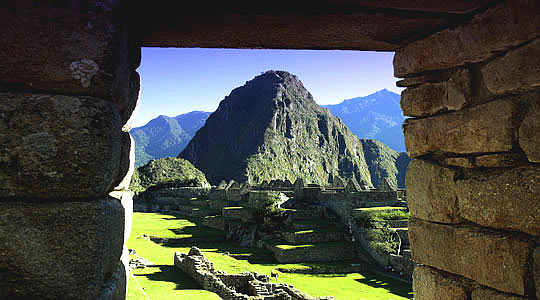 Wayna Pichu View Looked Through Rocky Window - Cusco Peru